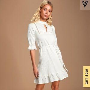 Lulu's dearest love white mock neck mini dress